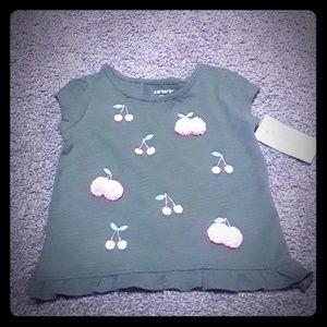 NWT super cute pompom cherry t-shirt, sz 12 mo